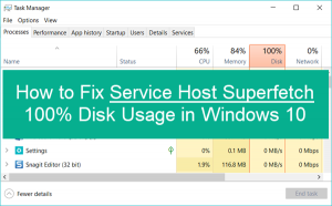 Windows 10 Service host SuperFetch