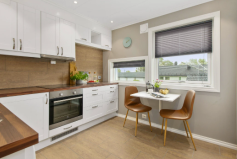 Brown and white small kitchen