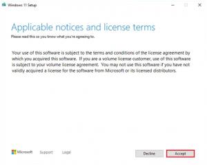 Accept Microsoft license Windows 11
